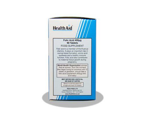 قرص مکمل فولیک اسید 400 میکروگرم هلث اید 90 عددی
